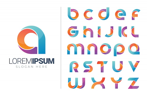 Conjunto de modelo de ícones do logotipo do alfabeto Vetor Premium