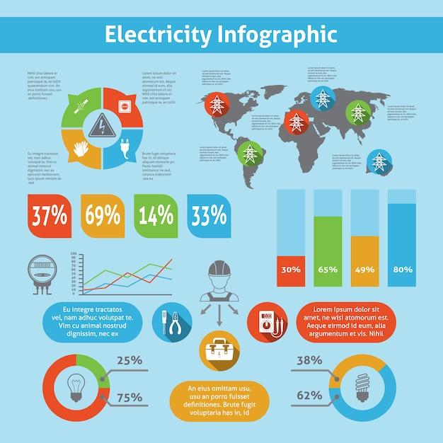 Conjunto de modelo de infográfico de electricidade Vetor grátis