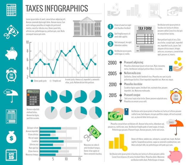 Conjunto de modelo de infográfico de imposto Vetor grátis