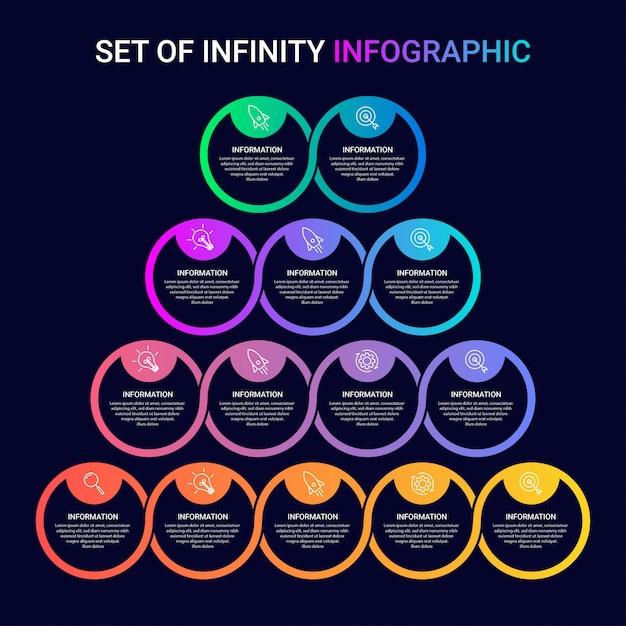 Conjunto de modelo de infográfico de negócios com ícones e números 2 3 4 5 opções ou etapas Vetor Premium