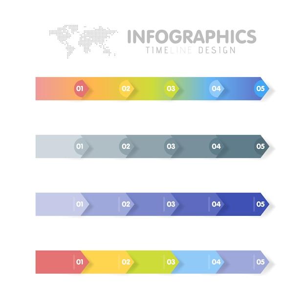 Conjunto de modelo de infográficos de negócios. linha do tempo com 5 etapas de seta, cinco opções numéricas. Vetor Premium