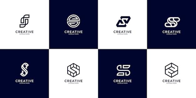 Conjunto de modelo de logotipo abstrato letra s inicial. ícones para negócios de luxo, elegantes e simples. Vetor Premium