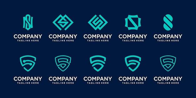 Conjunto de modelo de logotipo da letra s ss Vetor Premium