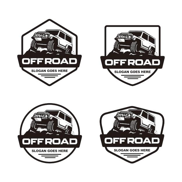 Conjunto de modelo de logotipo de carro de estrada Vetor Premium
