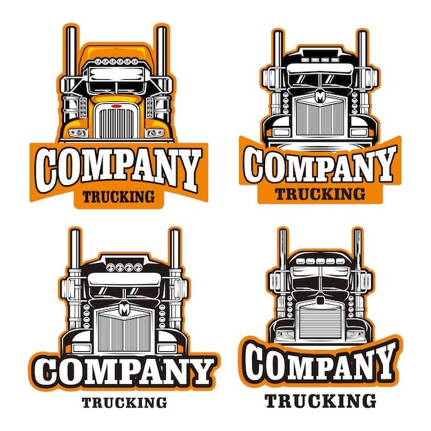 Conjunto de modelo de logotipo de empresa de caminhão Vetor Premium
