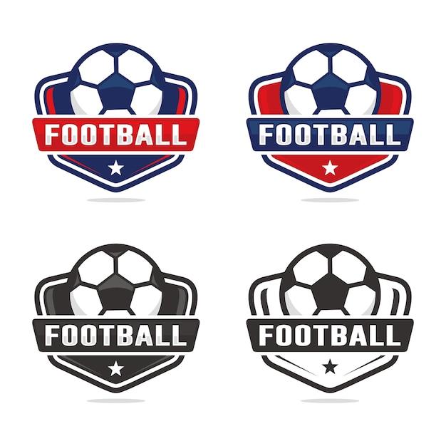 Conjunto de modelo de logotipo de futebol Vetor Premium