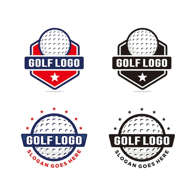 Conjunto de modelo de logotipo de golfe Vetor Premium