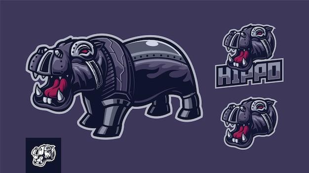 Conjunto de modelo de logotipo de ilustração de hipopótamo de robô Vetor Premium