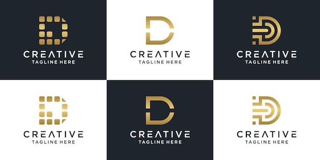 Conjunto de modelo de logotipo de letra d de monograma de marca de letra criativa. Vetor Premium
