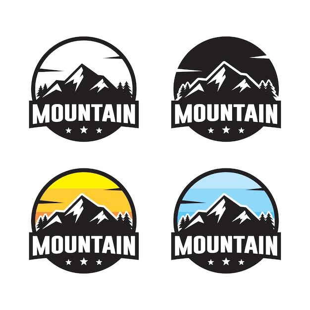 Conjunto de modelo de logotipo de montanha Vetor Premium