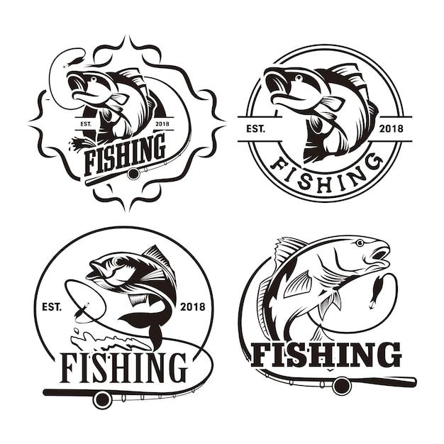 Conjunto de modelo de logotipo de pesca Vetor Premium