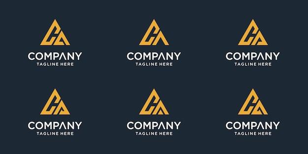 Conjunto de modelo de logotipo inicial de letra ca. ícones para negócios de esporte, automotivo, simples. vetor Vetor Premium