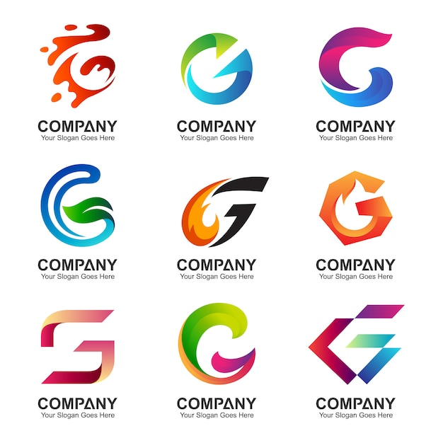 Conjunto de modelo de logotipo letra g Vetor Premium