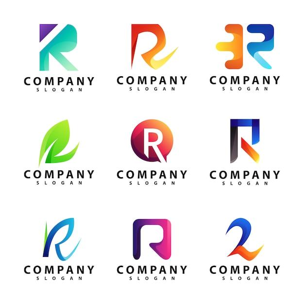 Conjunto de modelo de logotipo letra r Vetor Premium