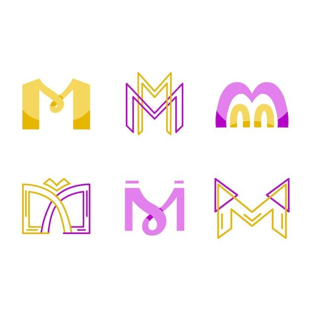 Conjunto de modelo de logotipo m Vetor Premium