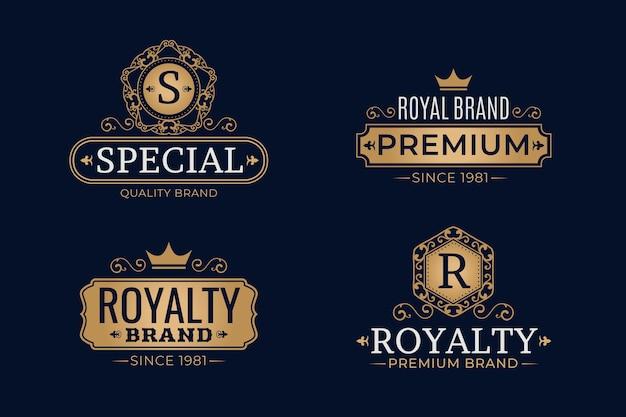 Conjunto de modelo de logotipo retrô de luxo Vetor grátis