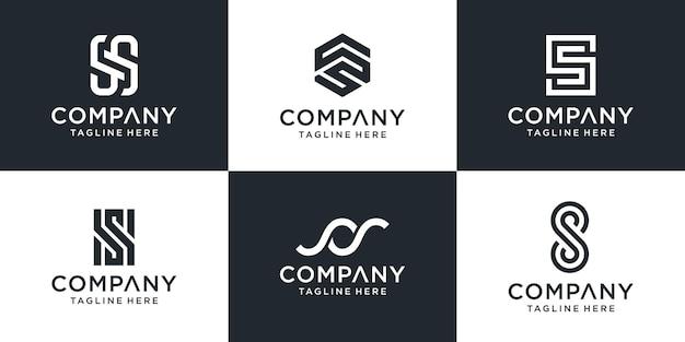 Conjunto de modelo de logotipo s de letra de monograma abstrato. Vetor Premium