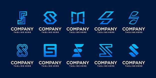 Conjunto de modelo de logotipo s ss da letra inicial da coleção. Vetor Premium