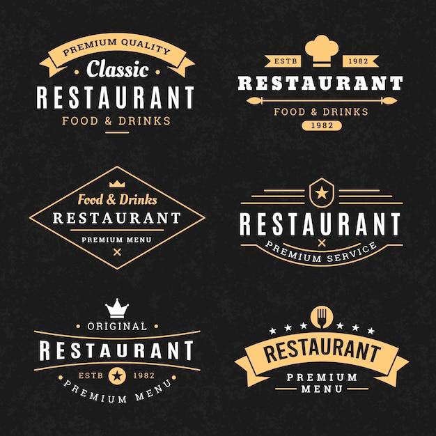 Conjunto de modelo de logotipo vintage de restaurante Vetor Premium