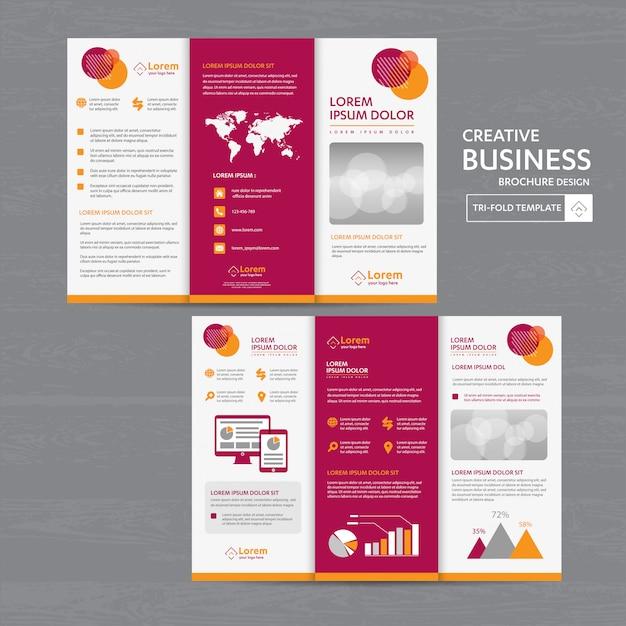 Conjunto de modelo de negócios com três dobras Vetor Premium