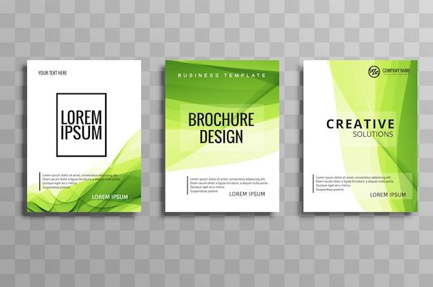 Conjunto de modelo de onda abstrata verde negócios brochura Vetor grátis