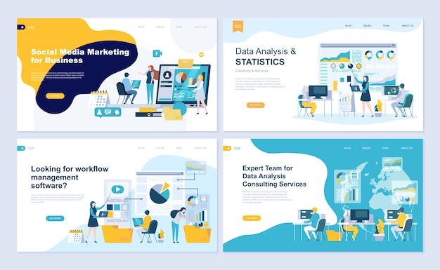 Conjunto de modelo de página de destino para análise de dados, gestão, consultoria, marketing. Vetor Premium