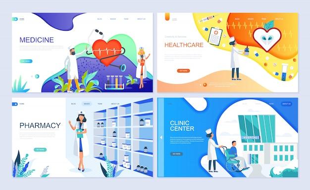 Conjunto de modelo de página de destino para medicina Vetor Premium