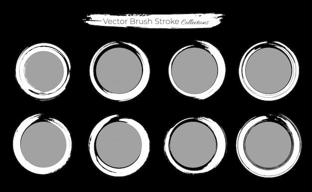 Conjunto de modelo de pincelada de círculo grunge Vetor Premium