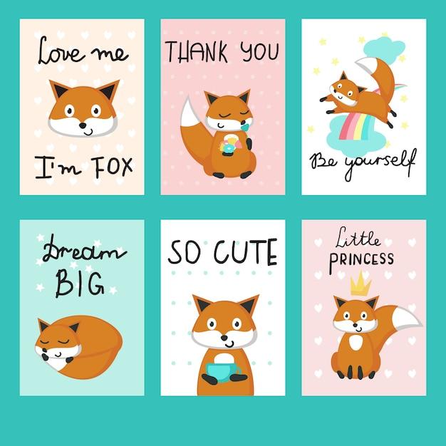 Conjunto de modelo de vetor de cartões de raposas bonito Vetor Premium