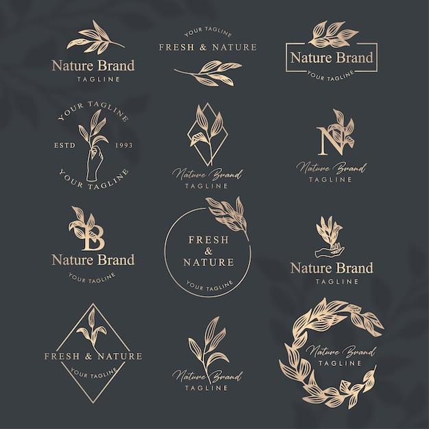 Conjunto de modelo editável do logotipo da arte floral feminino Vetor Premium