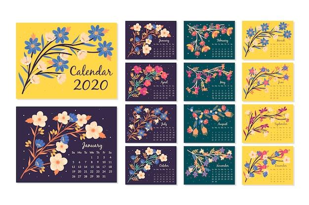 Conjunto de modelo floral calendário 2020 Vetor grátis