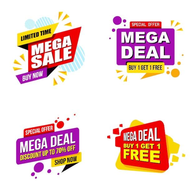 Conjunto de modelo moderno de bandeira de promoção de venda mega Vetor Premium