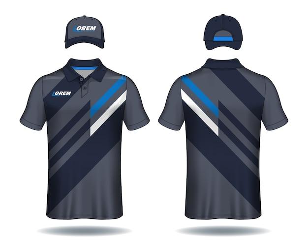 Conjunto de modelo uniforme, camisas polo e bonés. Vetor Premium