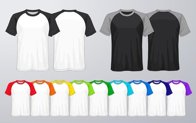 Conjunto de modelos coloridos de t-shirts. Vetor Premium