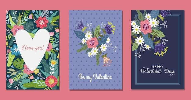 Conjunto de modelos com flores e coração Vetor Premium