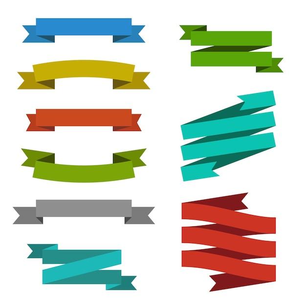 Conjunto de modelos criativos de elementos da web de etiqueta de banner de fita moderno Vetor grátis