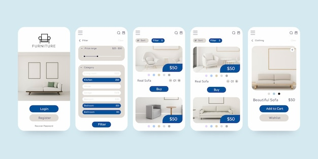 Conjunto de modelos de aplicativos de compras de móveis Vetor grátis