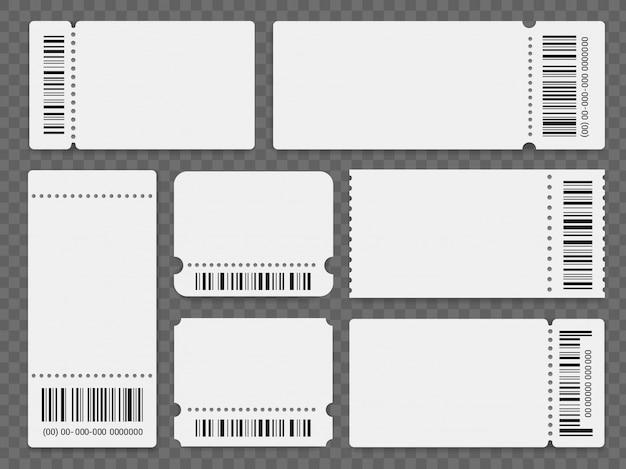 Conjunto de modelos de bilhetes de evento em branco Vetor Premium