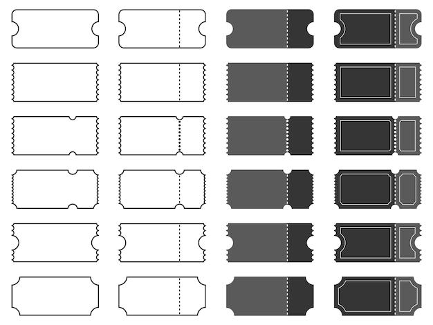 Conjunto de modelos de bilhetes em branco. Vetor Premium