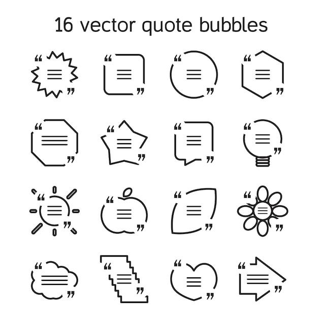 Conjunto de modelos de bolha de texto de citação quadrados em vários pontos de vista. citação de motivação. Vetor Premium