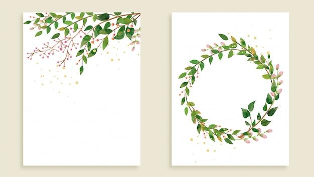 Conjunto de modelos de cartão moderno com folhas selvagens Vetor Premium