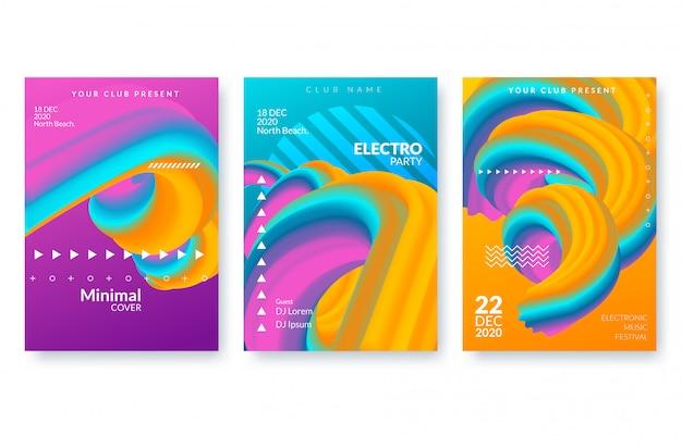 Conjunto de modelos de cartaz abstrato moderno com formas de fluxo 3d. Vetor Premium