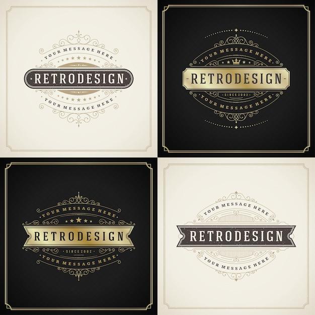 Conjunto de modelos de cartões vintage ornamento floresce quadros ornamentais Vetor Premium