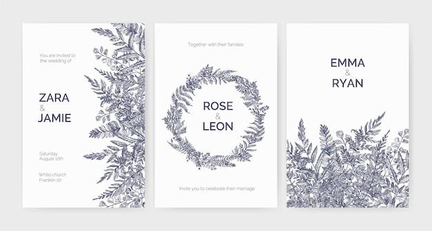 Conjunto de modelos de convites de casamento modernos, decorados com samambaias elegantes, ervas selvagens e plantas herbáceas Vetor Premium
