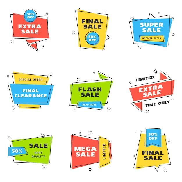 Conjunto de modelos de design de banners de venda Vetor Premium