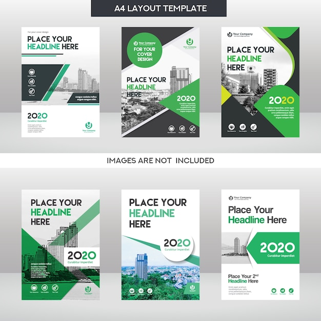 Conjunto de modelos de design de capa de livro de negócios do fundo da cidade Vetor Premium