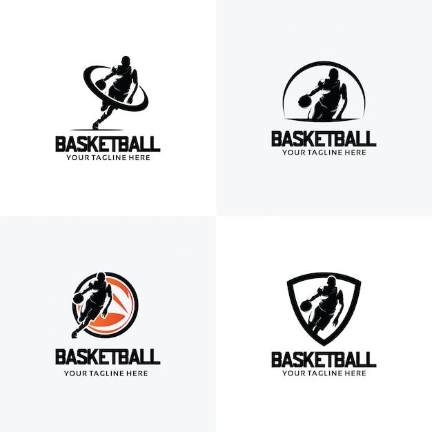 Conjunto de modelos de design de logotipo de basquete Vetor Premium