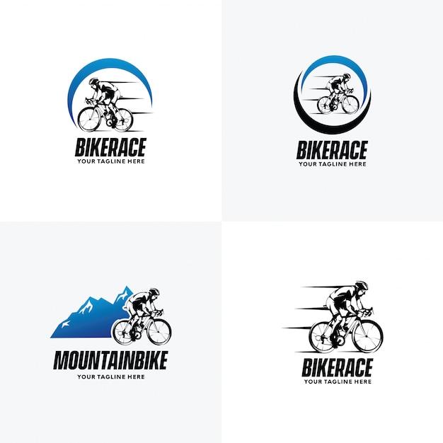 Conjunto de modelos de design de logotipo de ciclismo Vetor Premium