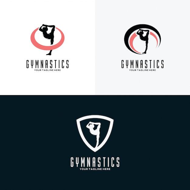 Conjunto de modelos de design de logotipo de ginástica Vetor Premium