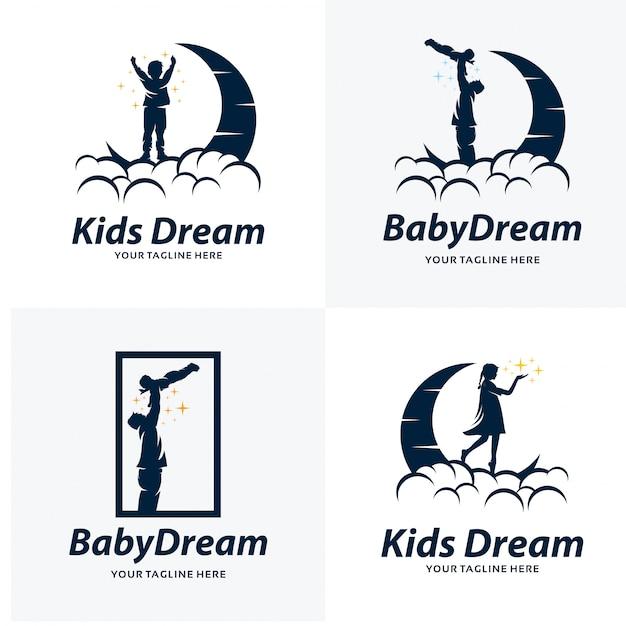 Conjunto de modelos de design de logotipo de sonho de crianças Vetor Premium